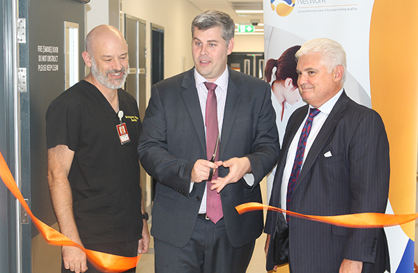 Caboolture Hospital Acting Executive Director Dr Simon Bugden, State Member for Morayfield Mark Ryan and I-MED CEO Steven Rubic officially open the new Caboolture Hospital medical imaging facility