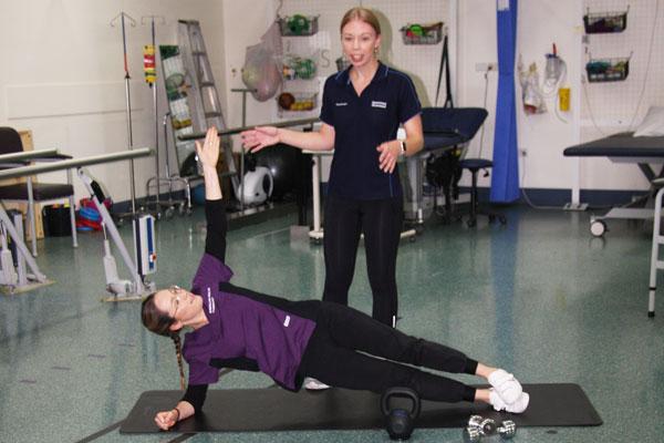 Adult CF physiotherapist K Burgess and Pharmacist, E Megram