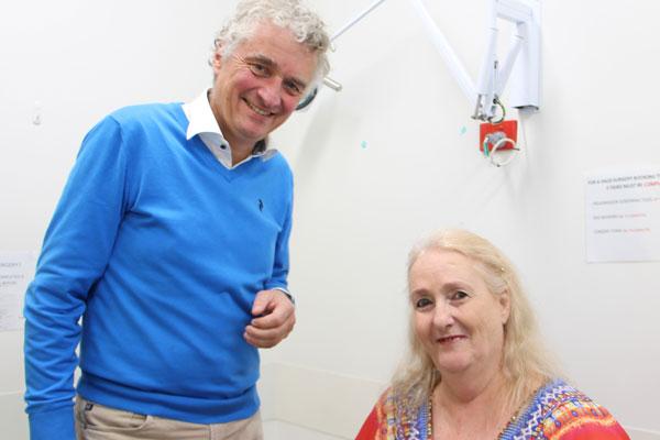 JTI Director Professor Michael Schuetz with patient Christine Ebrey